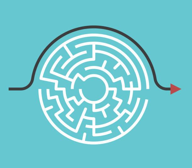 illustrazioni stock, clip art, cartoni animati e icone di tendenza di labirinto circolare, percorso bypass - semplicità