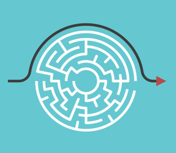 Circular maze, bypass route Circular maze with entrance and exit and bypass route arrow going around it. Problem and solution concept. Flat design. Vector illustration, no transparency, no gradients simplicity stock illustrations