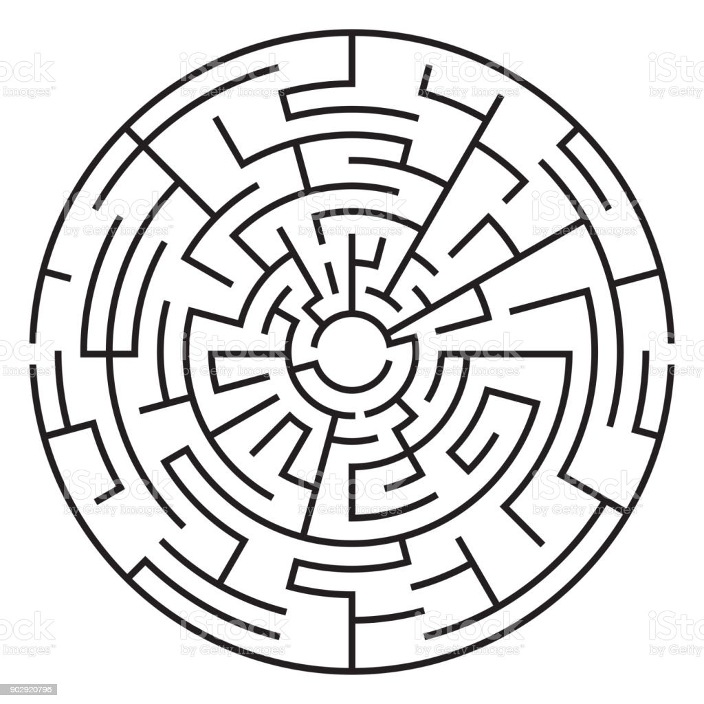Circular Maze Isolated On White Background Medium Complexity Stock