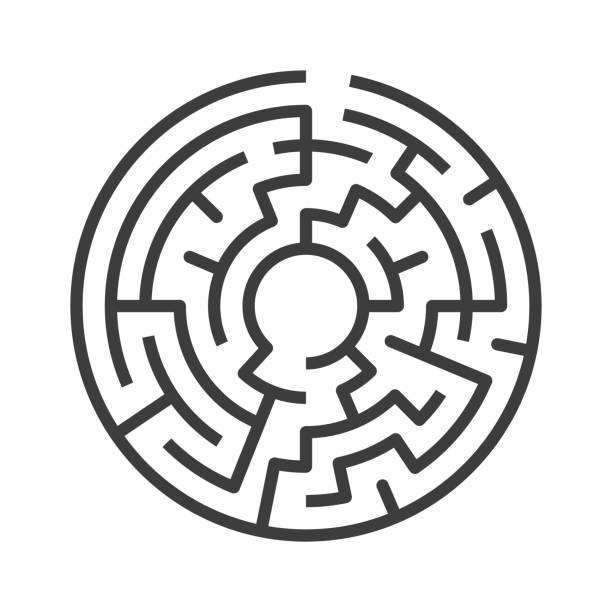 kreisförmige labyrinth isoliert - labyrinthgarten stock-grafiken, -clipart, -cartoons und -symbole