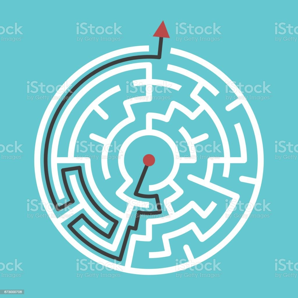 Circular maze with solution vector art illustration