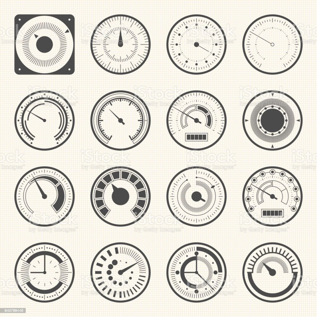 Circular Meter Collection Of Round Gauge Vector Icons Set Stock