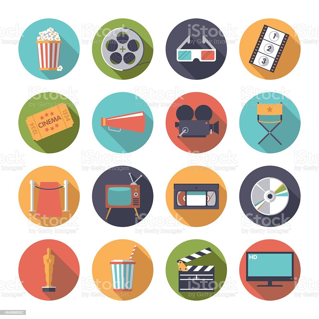Circular movie and cinema icons vector set. vector art illustration