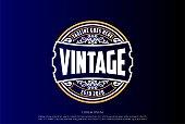 Circular Old Classic Elegant Retro Vintage Badge Emblem Label Logo Design Vector