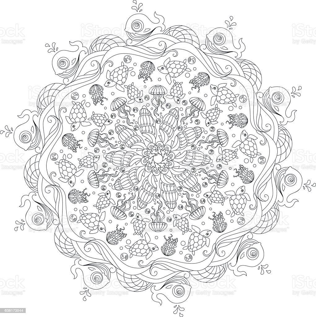 Circular ornament Underwater world: seashells, jellyfish, turtle vector art illustration