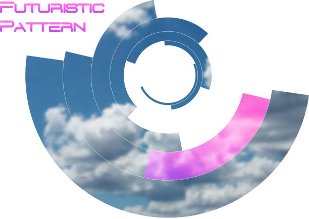 Circular pattern, circle elements forming geometric frame for photo with colorful pink color gradient banner. Futuristic design vector illustration – artystyczna grafika wektorowa