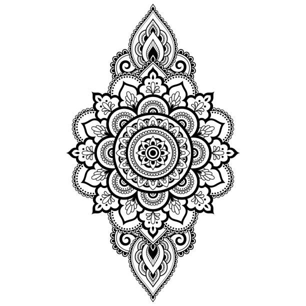 stockillustraties, clipart, cartoons en iconen met circulaire patroon in de vorm van mandala voor henna, mehndi, tatoeage, decoratie. decoratief frame sieraad in etnische oosterse stijl. boek kleurplaat. - hennatatoeage