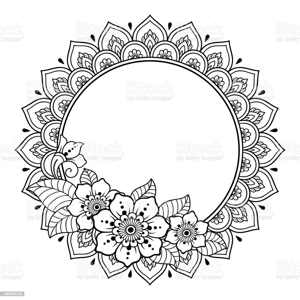 Kına Mehndi Dövme Dekorasyon Için Mandala şeklinde Dairesel