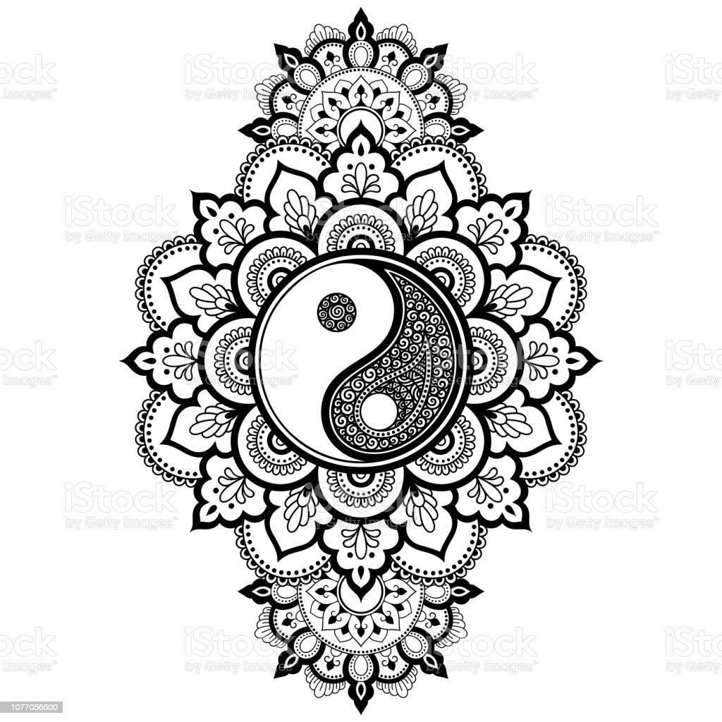 Circular Pattern In Form Of Mandala For Henna Mehndi Tattoo Decoration Decorative Ornament In Oriental Style With Yinyang Hand Drawn Symbol Coloring