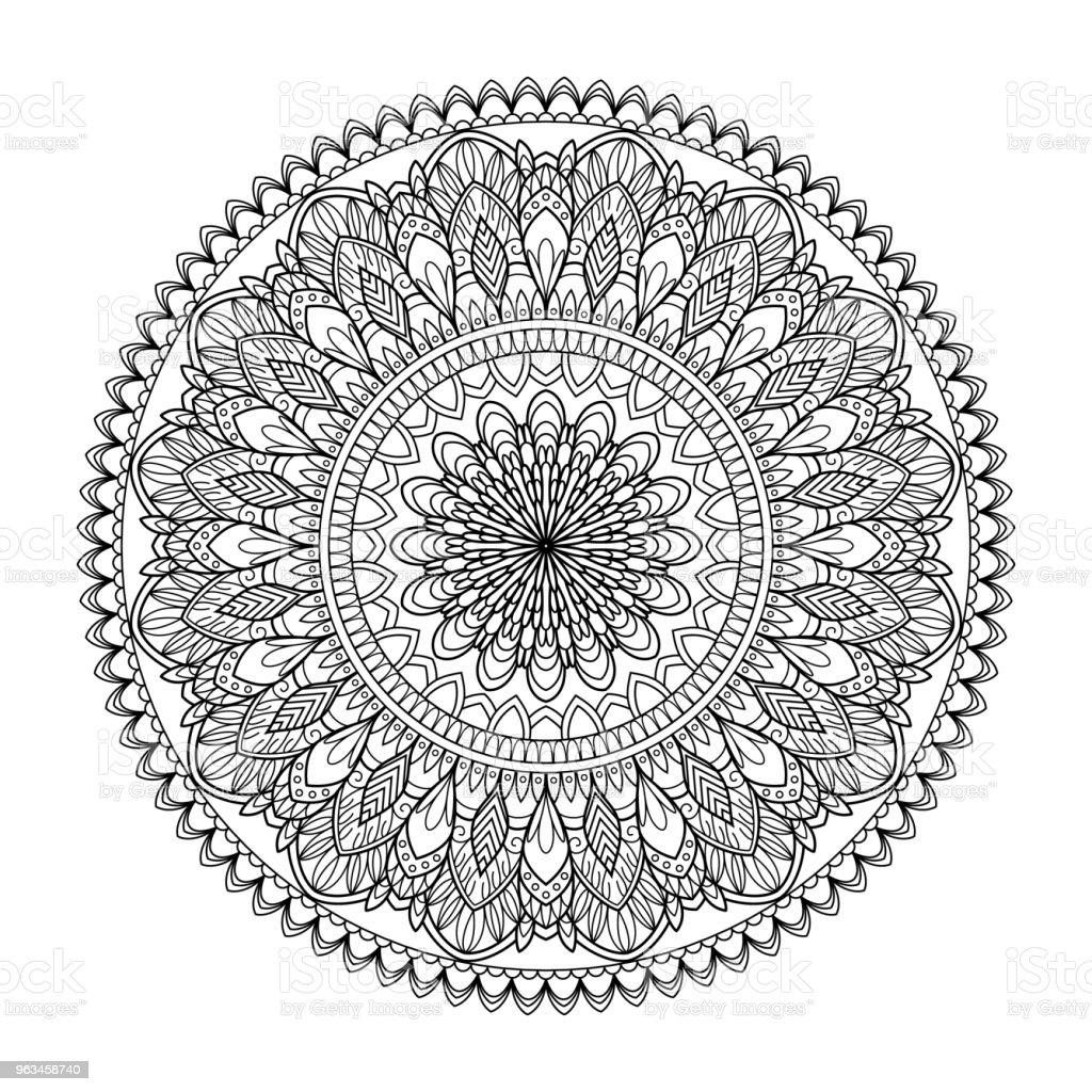 Kına Mehndi, dövme, dekorasyon için mandala şeklinde dairesel desende. Dekoratif süsleme etnik oryantal tarzı. Vintage şark süsleme elemanları. Vektör çizim. Boyama kitabı sayfası - Royalty-free Arap Kültürü Vector Art