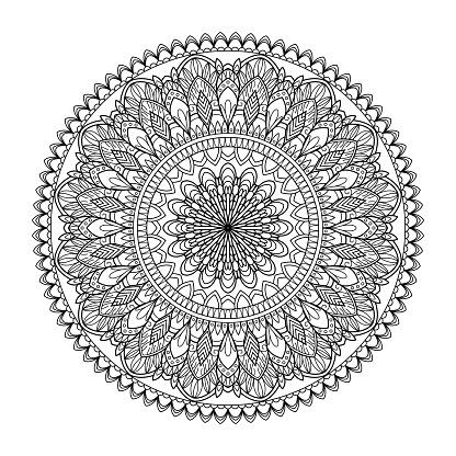 Kına Mehndi Dövme Dekorasyon Için Mandala Şeklinde Dairesel Desende Dekoratif Süsleme Etnik Oryantal Tarzı Vintage Şark Süsleme Elemanları Vektör Çizim Boyama Kitabı Sayfası Stok Vektör Sanatı & Arap Kültürü'nin Daha Fazla Görseli