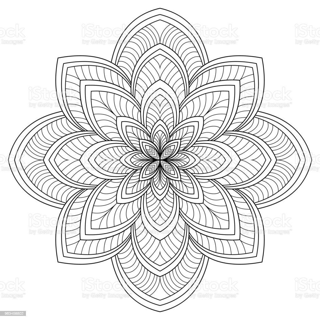 Patrón circular en forma de mandala de Mehndi, tatuaje, Henna, decoración. Ornamento decorativo en estilo étnico oriental. Elementos vintage ornamento oriental. Ilustración de vector. Página de libro para colorear - arte vectorial de Abstracto libre de derechos