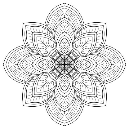 Ilustración de Patrón Circular En Forma De Mandala De Mehndi Tatuaje Henna Decoración Ornamento Decorativo En Estilo Étnico Oriental Elementos Vintage Ornamento Oriental Ilustración De Vector Página De Libro Para Colorear y más Vectores Libres de Derechos de Abstracto