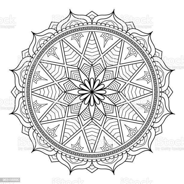 Okrągły Wzór W Postaci Mandali Dla Henny Mehndi Tatuażu Dekoracji Ozdoba Dekoracyjna W Etnicznym Stylu Orientalnym Vintage Orientalne Elementy Ornament Ilustracja Wektorowa Strona Kolorowanki - Stockowe grafiki wektorowe i więcej obrazów Mandala