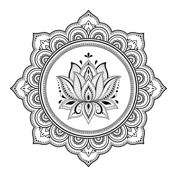 stockillustraties, clipart, cartoons en iconen met circulaire patroon in de vorm van mandala voor henna, mehndi, tatoeage, decoratie. decoratieve sieraad in oosterse stijl met lotus. boek kleurplaat. - hennatatoeage