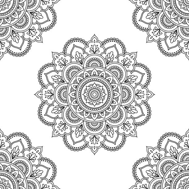 circular pattern in form of mandala for henna, mehndi, tattoo, decoration. seamless decorative ornament in ethnic oriental style. coloring book page. - coloring book pages templates stock illustrations