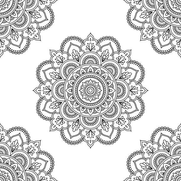 Patrón circular en forma de mandala de Mehndi, tatuaje, Henna, decoración. Ornamento decorativo en estilo étnico oriental. Página de libro para colorear. - ilustración de arte vectorial