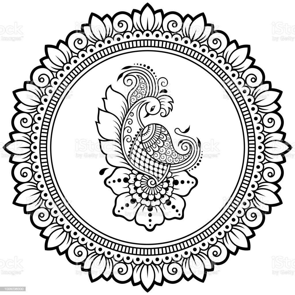 Ilustración De Patrón Circular En Forma De Mandala Con Plantilla De