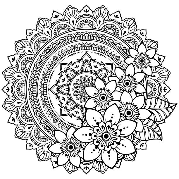 circular pattern in form of mandala with flower for henna, mehndi, tattoo, decoration. decorative ornament in ethnic oriental style. coloring book page. - coloring book pages templates stock illustrations