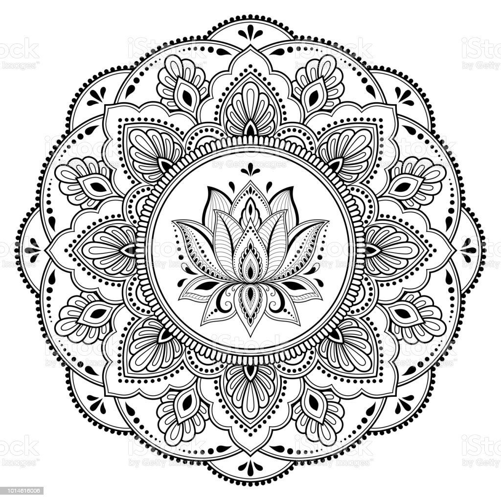 Circular Pattern In Form Of Mandala With Lotus Flower For
