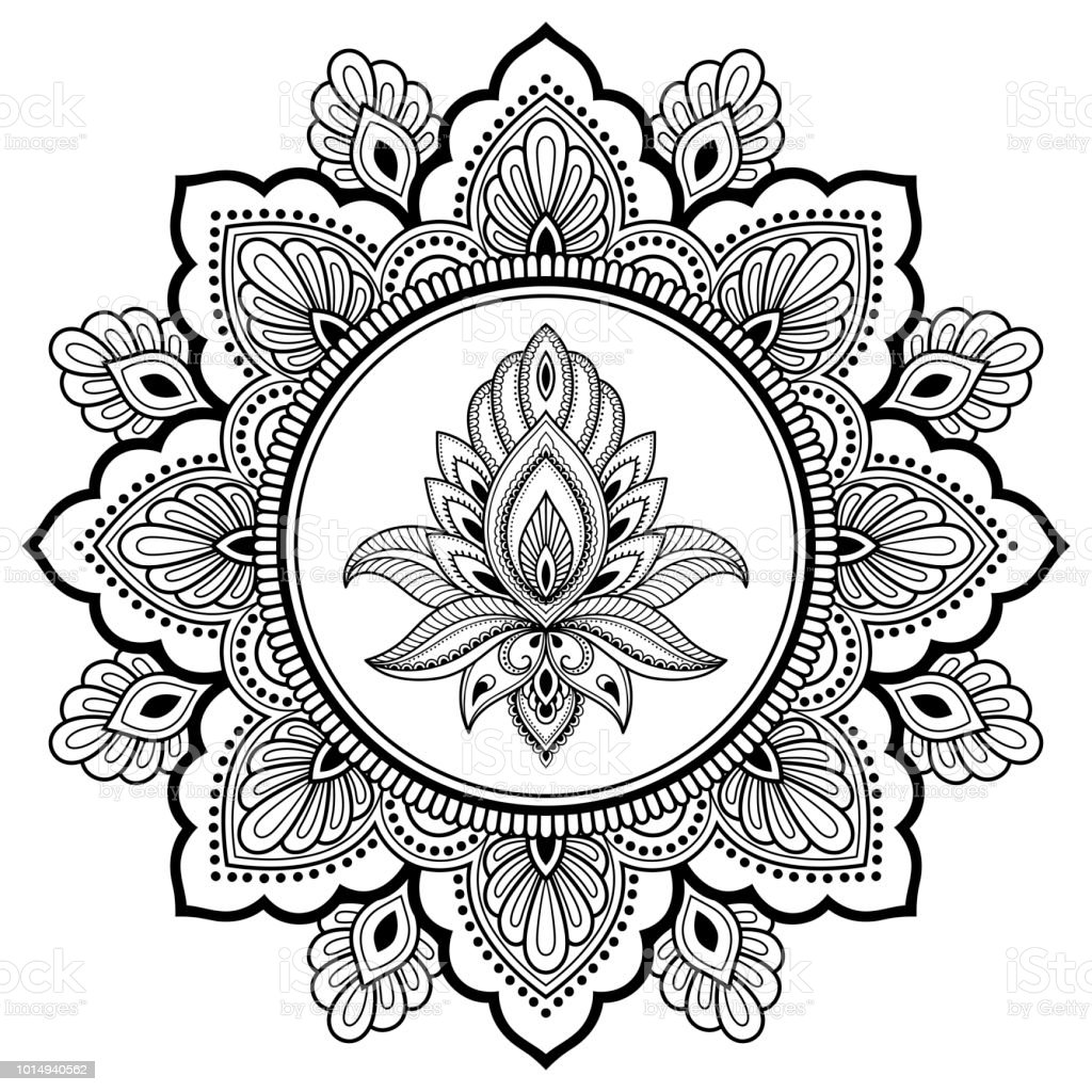 Circular Pattern In Form Of Mandala With Lotus Flower For Henna Mehndi Tattoo