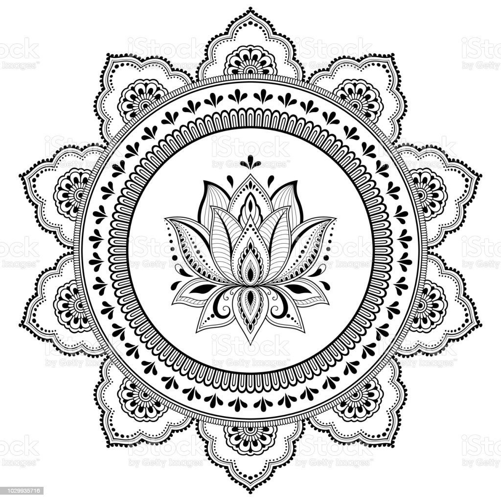 Ilustración De Patrón Circular En Forma De Mandala Con Flor De Loto