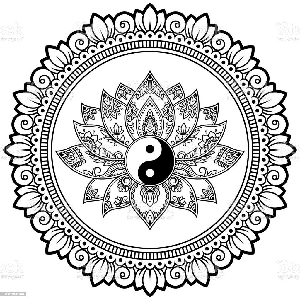 Motif Circulaire En Forme De Mandala Avec La Fleur De Lotus Pour
