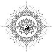 Circular pattern in form of mandala with lotus flower for Henna, Mehndi, tattoo, decoration. Decorative ornament in oriental style with Yin-yang hand drawn symbol. Coloring book page.