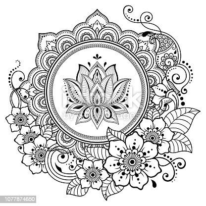 Istock Patrón Circular En Forma De Mandala Con Flor De Loto Para