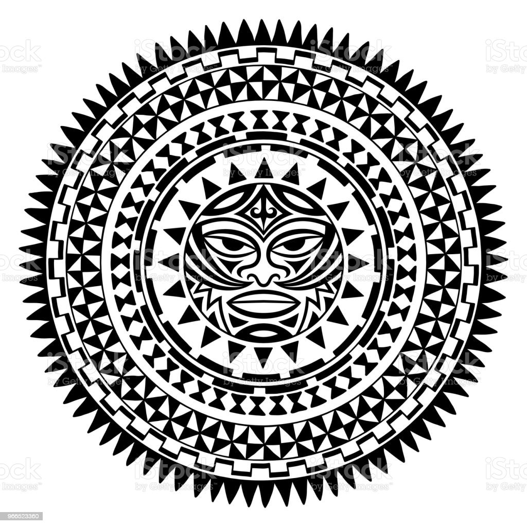 Circular pattern in form of mandala with Thunder-like Tiki is symbol-mask of God. Traditional ornaments of Maori people - Moko style. Vintage decorative tribal border from elements of African theme. vector art illustration