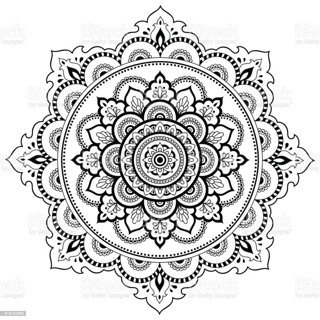 kreismuster in form eines mandalas henna tattoo mandala mehndistil dekorative muster im. Black Bedroom Furniture Sets. Home Design Ideas