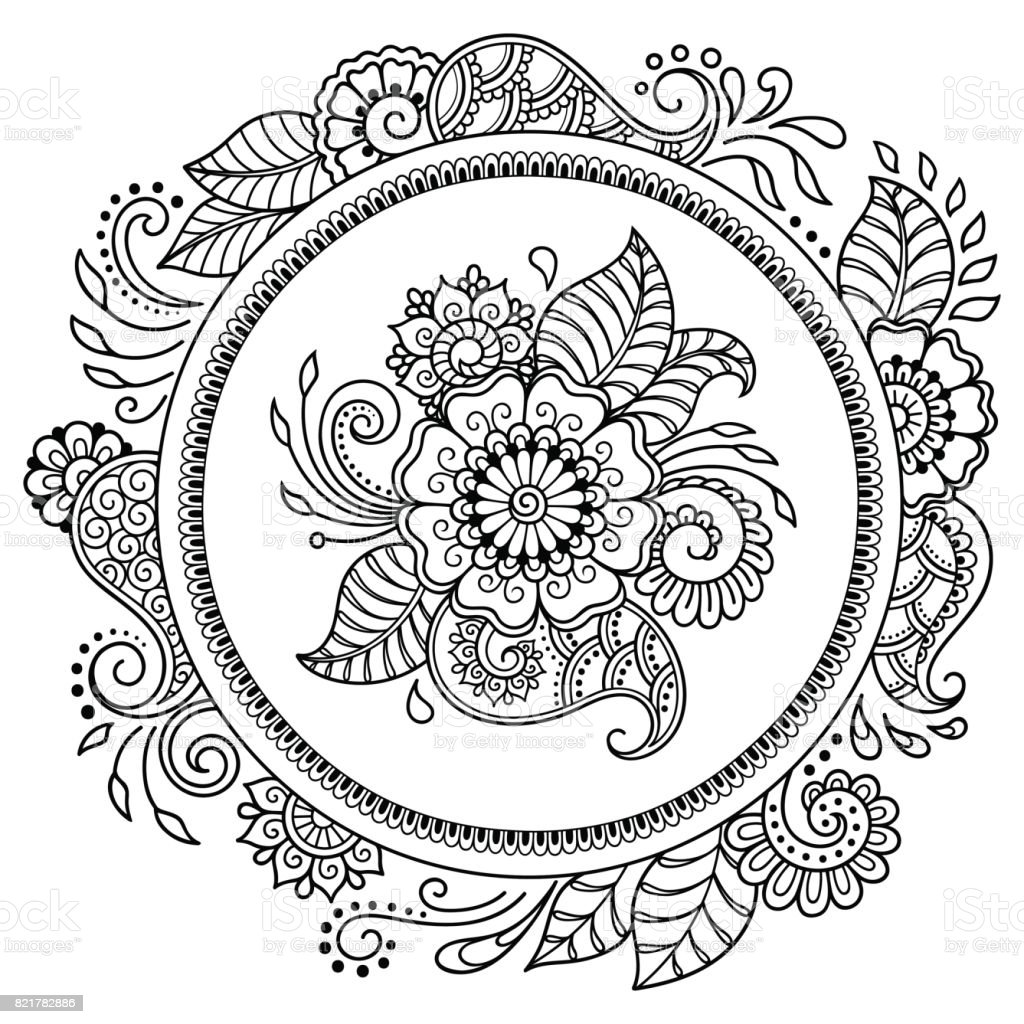 Mandala Tattoo Kleurplaten.Circulaire Patroon In De Vorm Van Een Mandala Henna Tattoo Mandala