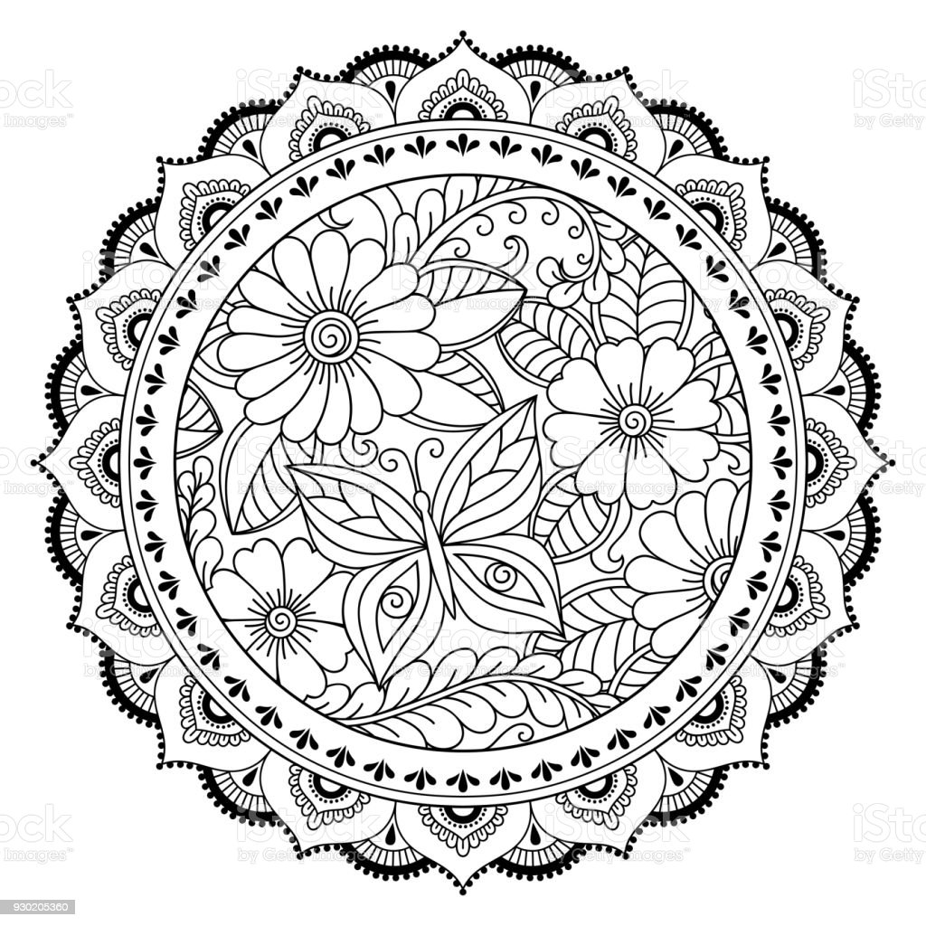 Kreismuster In Form Eines Mandalas Henna Tattoo Mandala Mehndistil