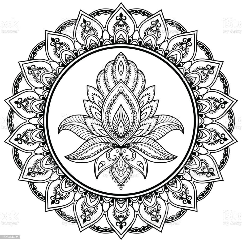 Ein Kreisförmiges Muster In Form Eines Mandalas Hennatattoo Blume