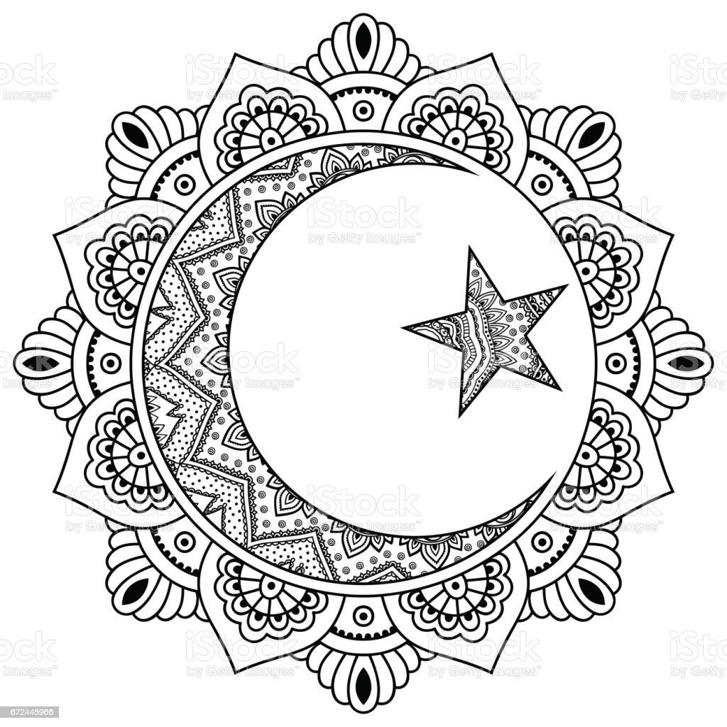 Dairesel Bir Desen Bir Mandala şeklinde Yıldız Ve Hilal Dini Islam