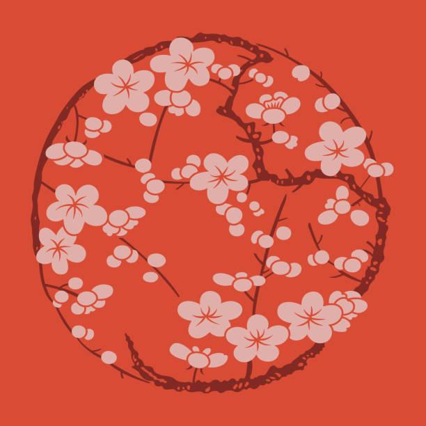Circular pattern of Chinese style-07 Circular pattern of Chinese style-07 peach blossom stock illustrations