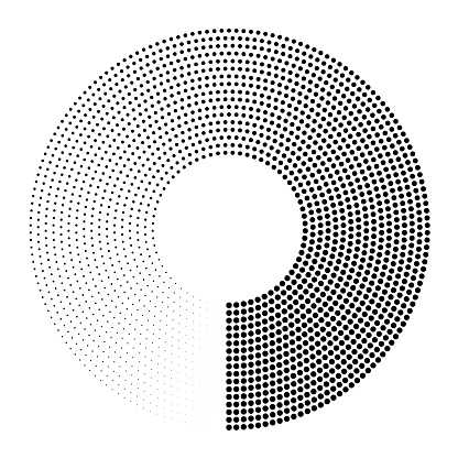 Circular pattern of dots fading 360-degrees full lap from solid. Many orbits.