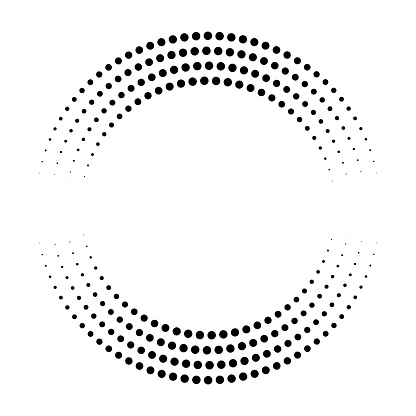 Circular pattern of dots fading to x-axis. Eight orbits. Equal distance along tangent.