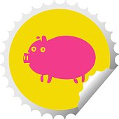 circular peeling sticker cartoon fat pig