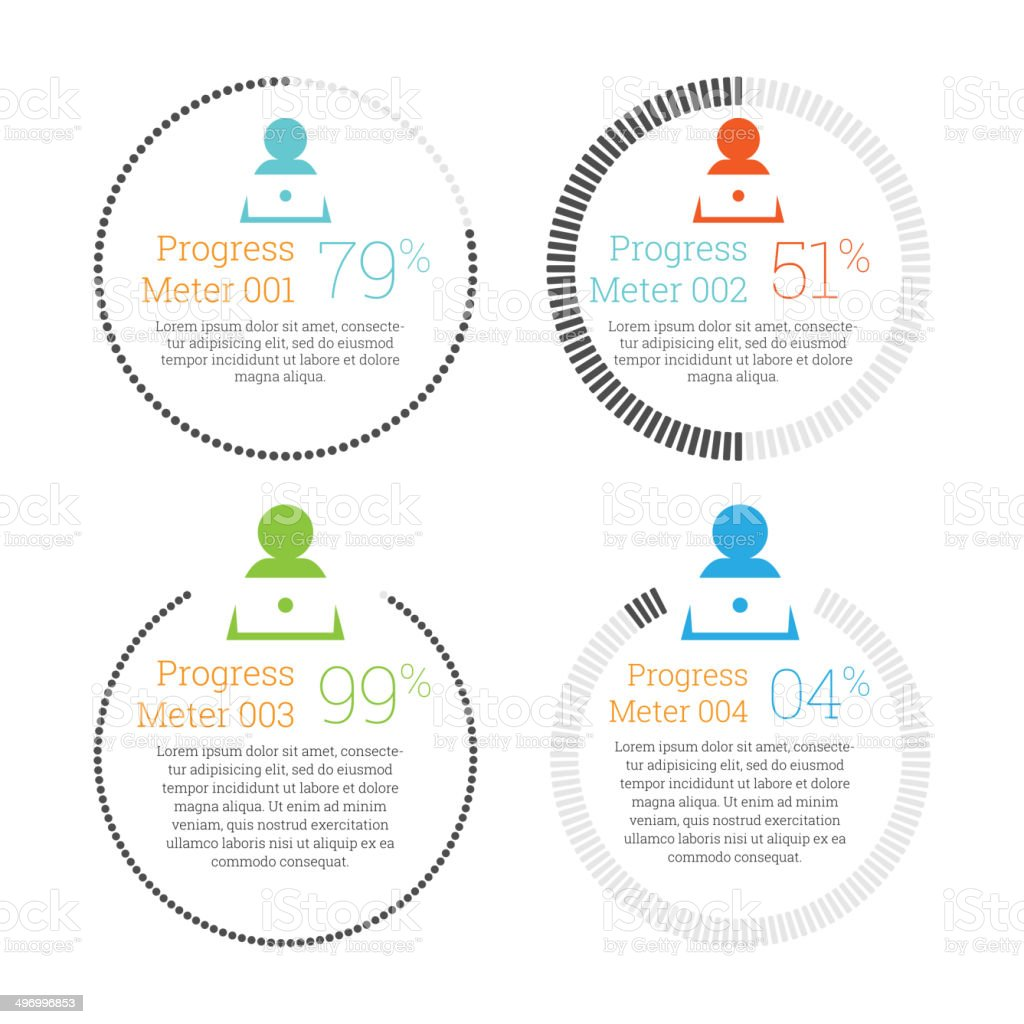 Circular Progress Meter Infographic vector art illustration