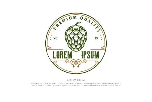 Circular Retro Hop for Craft Beer Brewing Brewery Label Badge Emblem Logo Design Vector