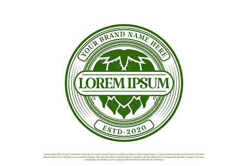Circular Round Old Vintage Green Hop for Craft Beer, Brewing or Brewery Label  Design Vector