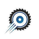 circular saw blade logo design template vector illustration