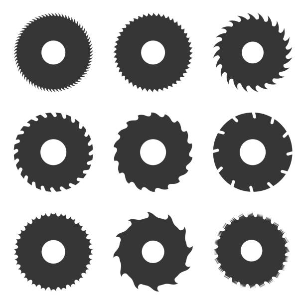 Circular Saw Blades Set. Vector Circular Saw Blades Set on White Background. Vector illustration blade stock illustrations