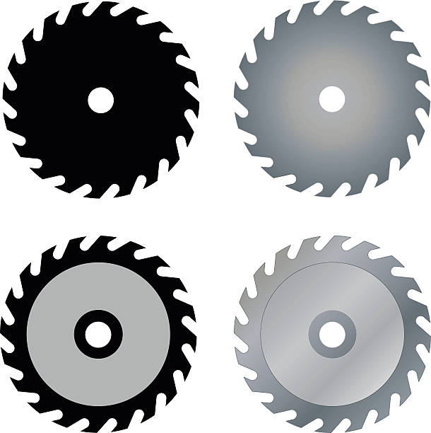 circular saw blades Silhouettes of circular saw blades, vector illustration eps 10 blade stock illustrations