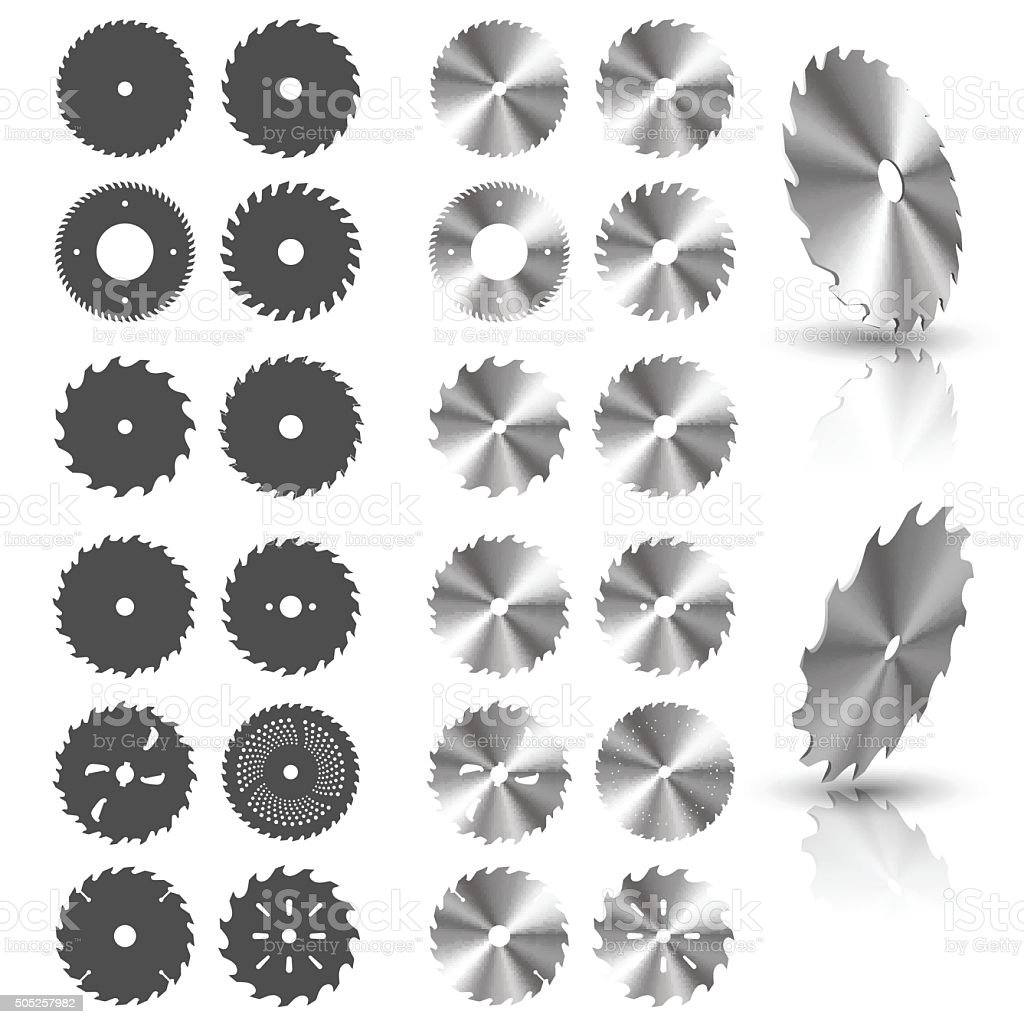 Circular saw blades vector art illustration