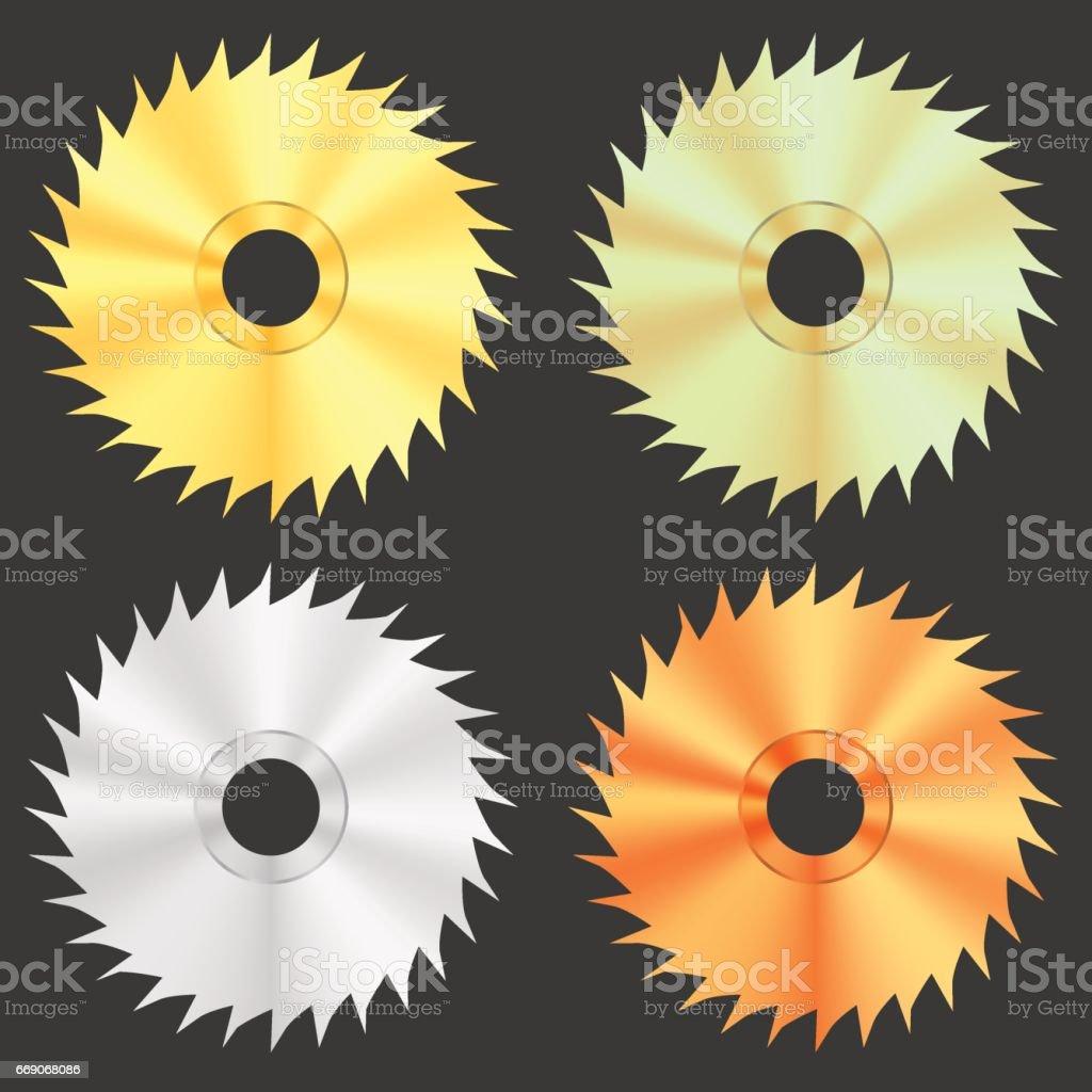 Circular Saw Discs vector art illustration