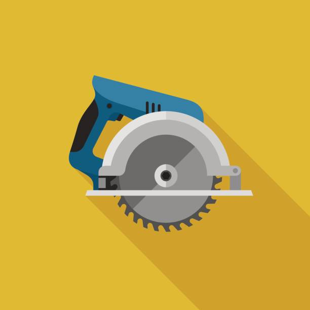 Circular saw flat icon Circular saw flat icon with long shadow. Vector illustration of electric tool. electric saw stock illustrations