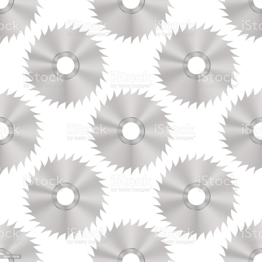 Circular Saw Steel Disc Seamless Pattern vector art illustration