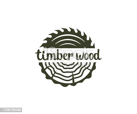 Circular saw wood, timber wood with tree rings, design. Lumber, industrial wood and wood in nature, vector design and illustration